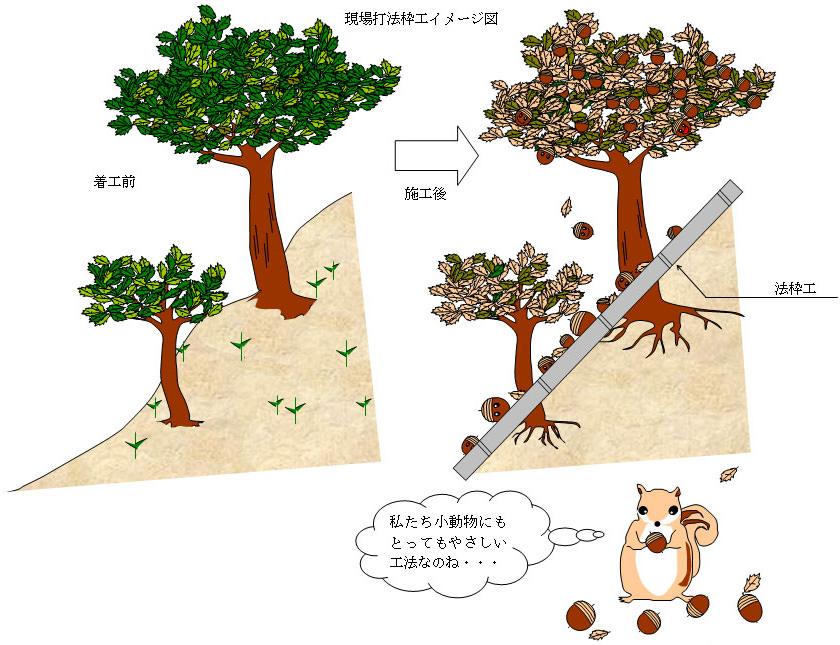 樹木を残した法面工の施工:イメージ図